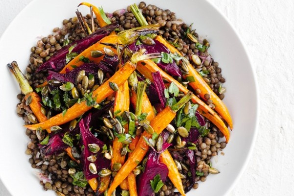 Green Lentil Risotto with beetroot and horseradish